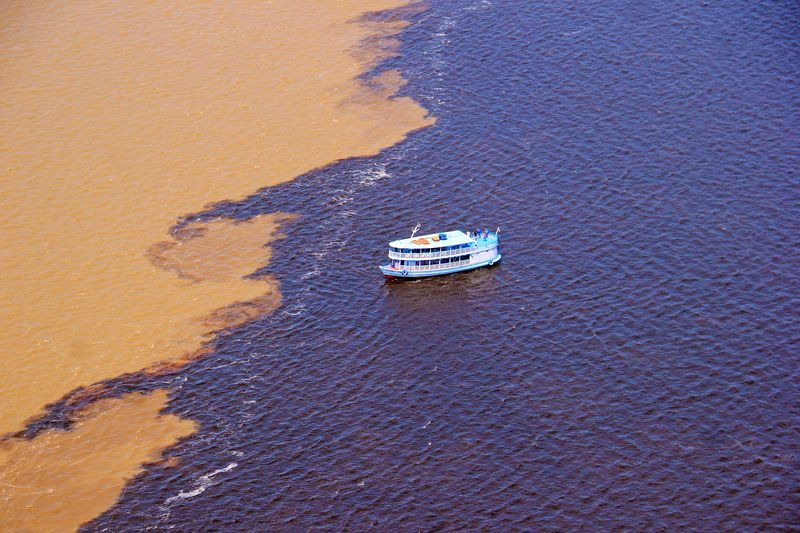 Meeting of waters near the Amazon capital city of Manaus.